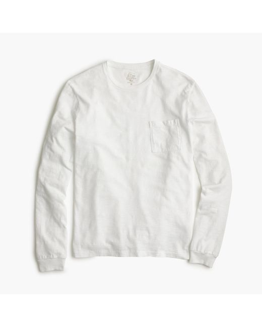 J.Crew   White Tall Long-sleeve Garment-dyed T-shirt for Men   Lyst