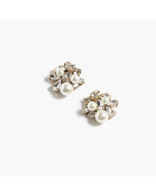 J.Crew Natural Pearl And Crystal Earrings