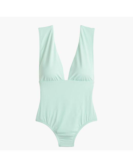 J.Crew | Green V-neck One-piece Swimsuit In Italian Matte | Lyst