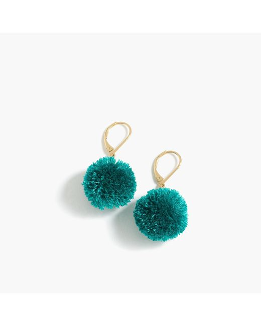 J.Crew - Blue Pom-pom Earrings - Lyst