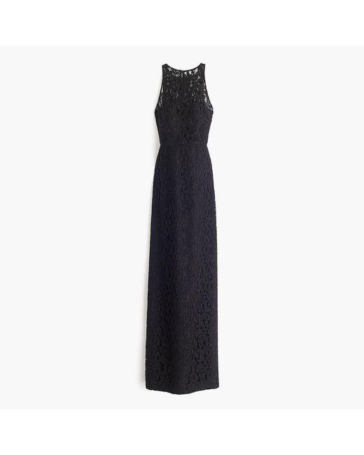 J.Crew | Black Pamela Long Dress In Leavers Lace | Lyst