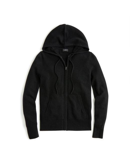 J.Crew Black Everyday Cashmere Zip-front Hoodie