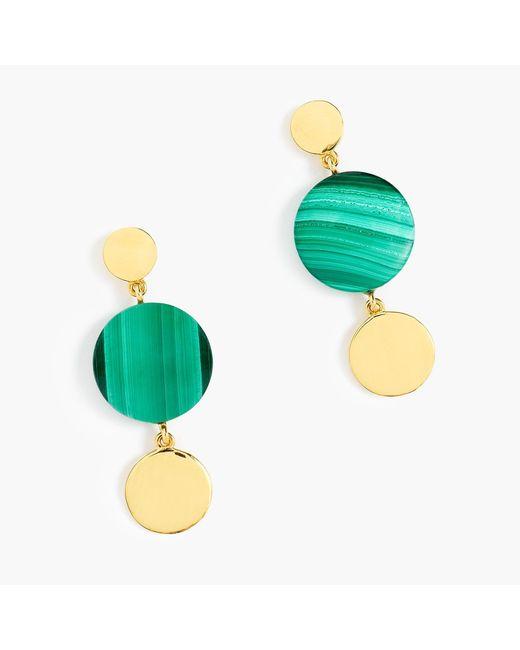 J.Crew - Green Demi-fine 14k Gold-plated Malachite Earrings - Lyst
