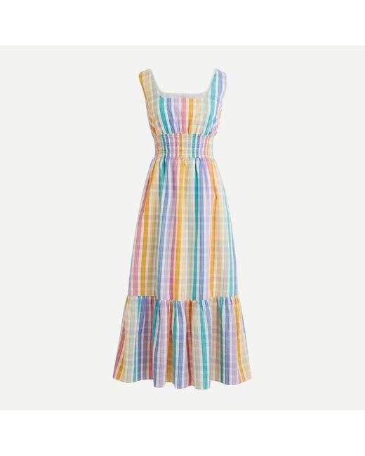 J.Crew Blue Square-neck Dress In Rainbow Gingham