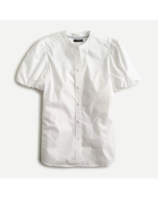 J.Crew White Classic-fit Short Puff-sleeve Shirt