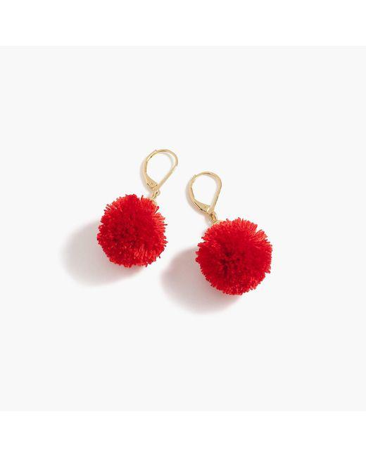 J.Crew - Red Pom-pom Earrings - Lyst