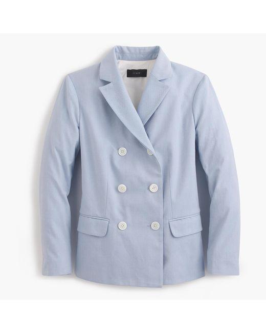J.Crew | Blue Double-breasted Blazer In Italian Cotton | Lyst