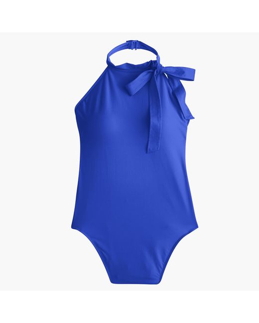 J.Crew | Blue Halter Bow-tie One-piece Swimsuit | Lyst