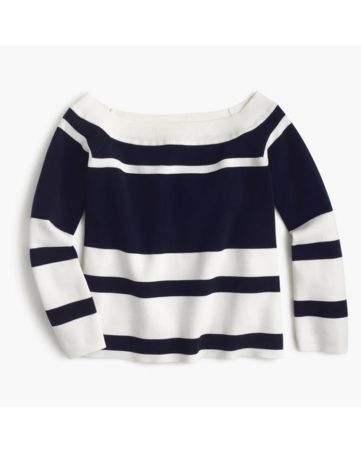 J.Crew   Blue Off-the-shoulder Striped Sweater   Lyst