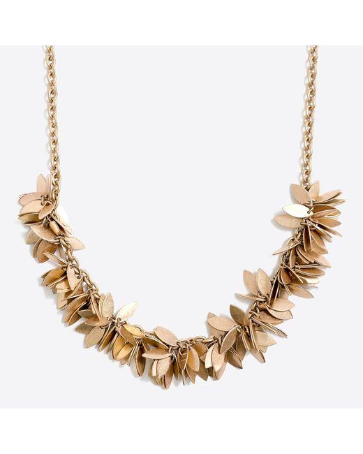 J.Crew - Metallic Golden Leaves Necklace - Lyst