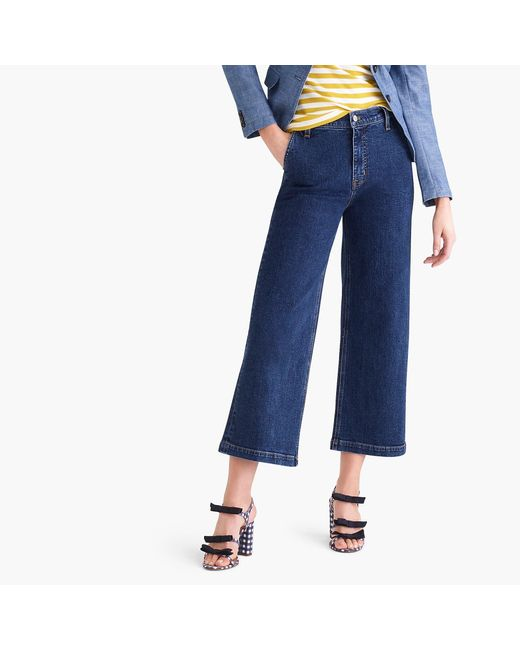 "J.Crew Blue 10"" Highest-rise Wide-leg Jean In Medium Dark Wash"