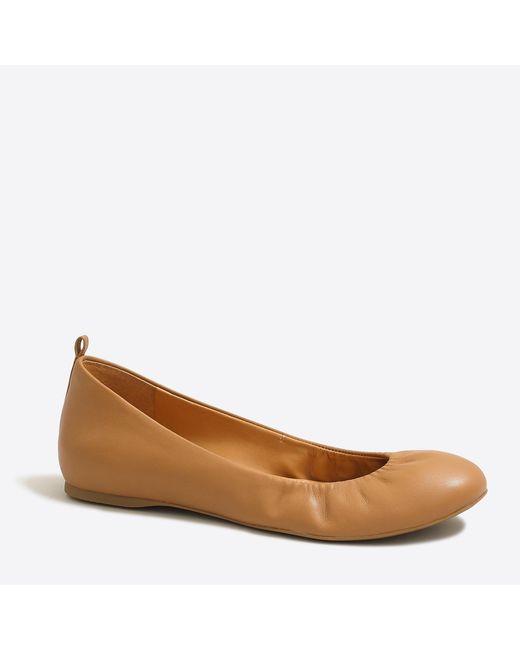 J.Crew - Brown Anya Leather Ballet Flats - Lyst