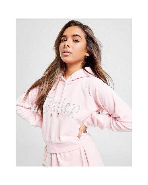 Juicy Couture Pink Diamante Logo Velour Hoodie