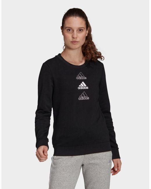 Adidas Black Essentials Stacked Logo Sweatshirt