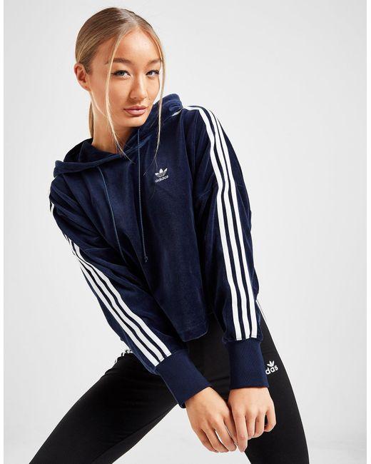 Adidas Originals Blue Adicolour Velvet Crop Hoodie