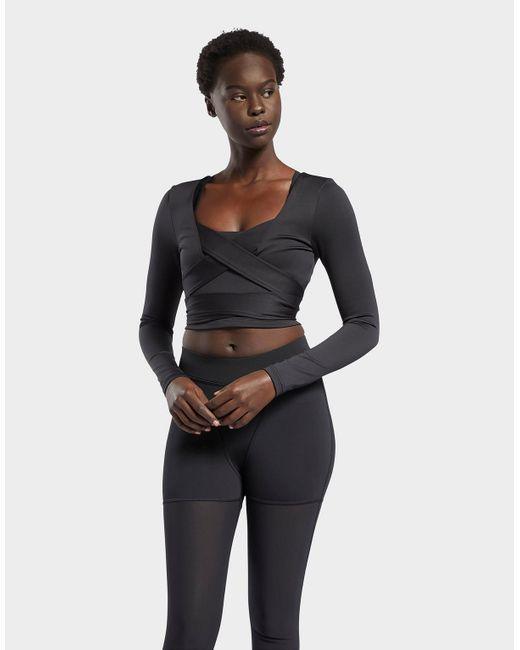 Reebok Black Cardi B Long-sleeve Top Crop Top