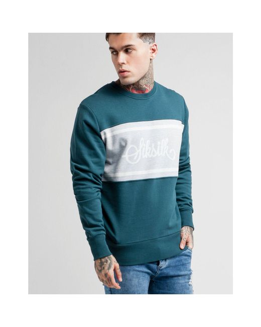 a5afbcbfabe ... Siksilk - Green Central Panel Crew Sweatshirt for Men - Lyst ...