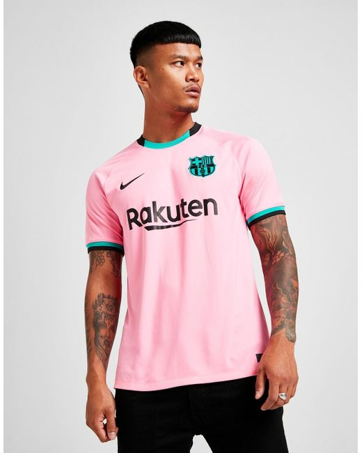 nike synthetic fc barcelona 2020 21 third shirt in pink for men lyst lyst