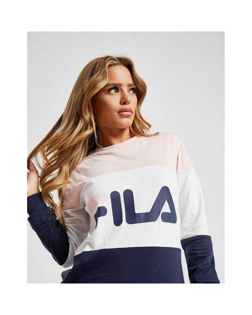 Fila Blue Colour Block Long Sleeve Boyfriend T-shirt