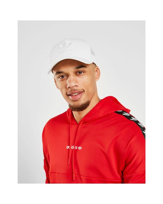 ad02a9c4 ... Adidas Originals - Red Overhead Tape Hoodie for Men - Lyst ...