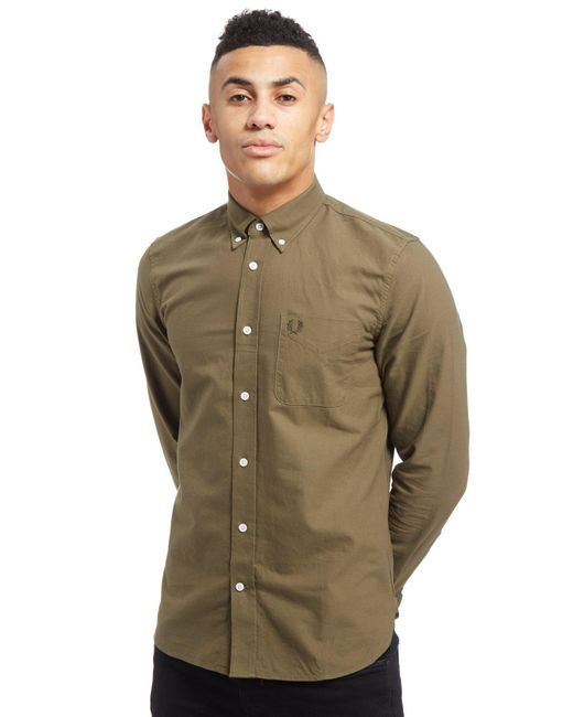 Lyst fred perry oxford long sleeve shirt in green for Fred perry mens shirts sale