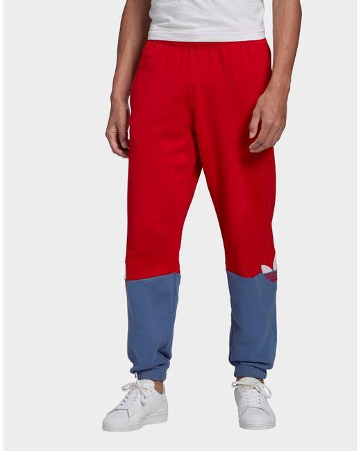 Adidas Originals Red Adicolor Sliced Trefoil Joggers for men