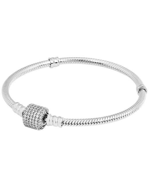 "Pandora - Metallic 590723cz-21 Sterling Silver Barrel Clasp Bracelet With Clear Cz 8.3"" - Lyst"