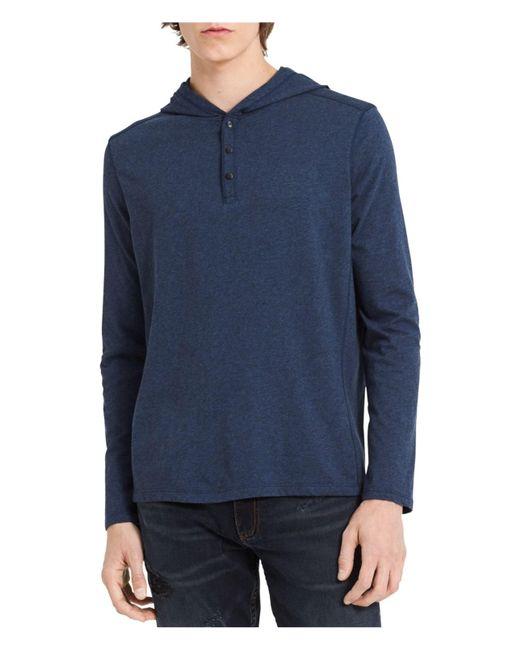 Calvin Klein - Blue Henley Hoodie Sweatshirt for Men - Lyst