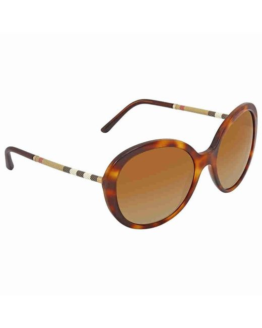 edfacd289438 Burberry - Brown Gradient Round Ladies Sunglasses Be4239q-3316t5-57 - Lyst