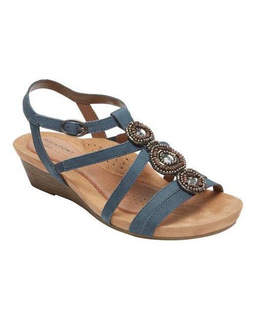Rockport Cobb Hill Hannah Metallic T-Strap Sandals B5uWky8N