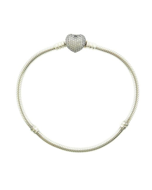 Pandora - Metallic Pave Heart Sterling Silver Charm Bracelet - Lyst