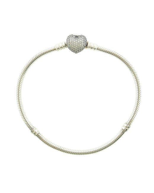 Pandora - Metallic Mots Bracelet With Pave Heart Clasp - 590727cz-18 - Lyst