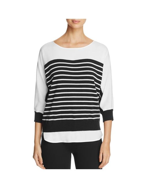 Calvin Klein - Black Striped Long Sleeves Tunic Sweater - Lyst