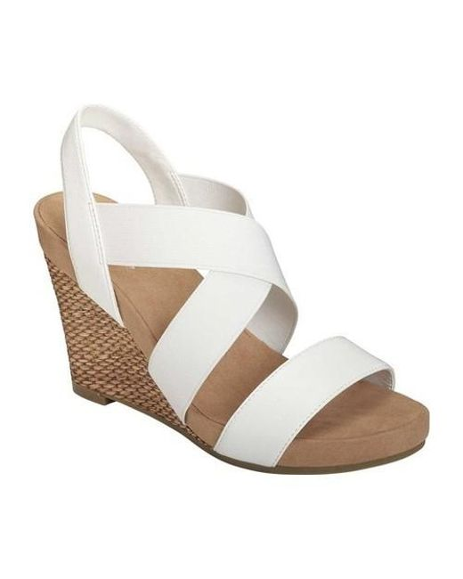 c7b55c40d1 A2 By Aerosoles Lotus Plush Wedge Sandal in White - Lyst