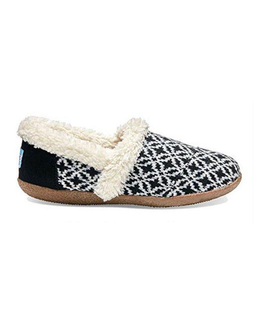 Toms Black White Fair Isle Women's Slippers in White | Lyst