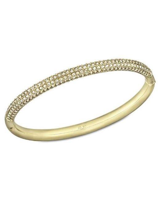 Swarovski - Metallic Stone Crystal And Goldtone Bangle Bracelet - Lyst