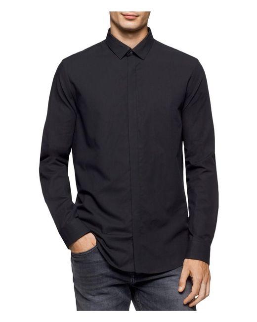 Calvin Klein - Black Twill Button Up Shirt for Men - Lyst
