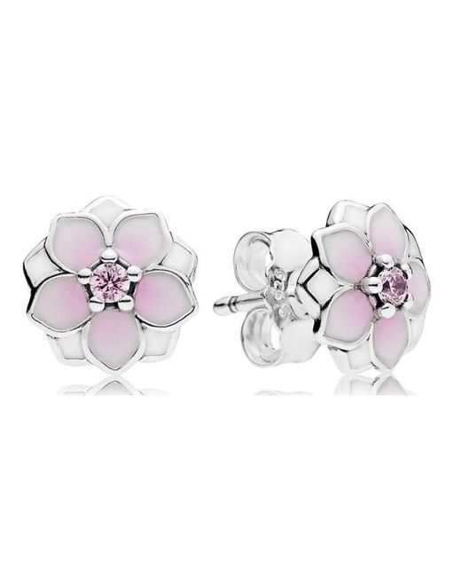 Pandora | Metallic Magnolia Bloom Earring Studs | Lyst