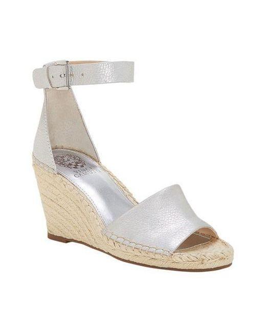 6ef7695947d9 Lyst - Vince Camuto Silver  leera  High Wedge Sandals in Metallic ...