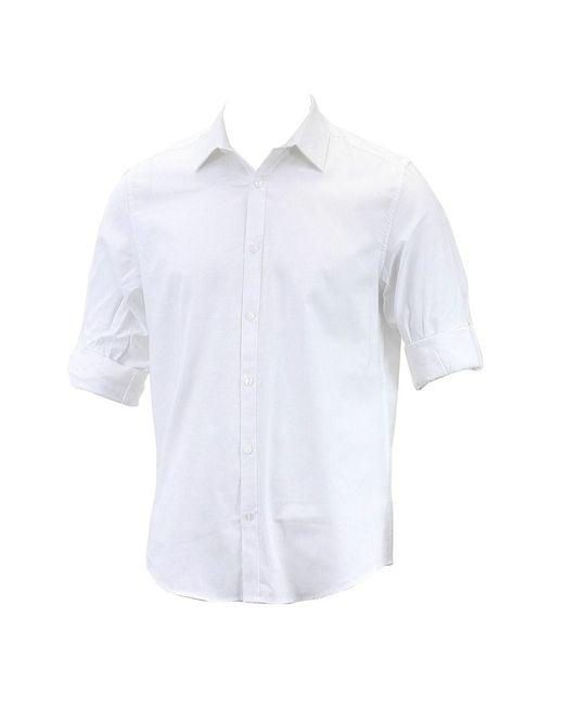 Calvin Klein - Black Non-iron Solid White Yd Oxford Button Up Dress Shirt for Men - Lyst