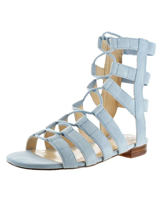 Vince Camuto - Blue Helayn Suede Open Toe Ghillie Caged Sandals Shoes - Lyst