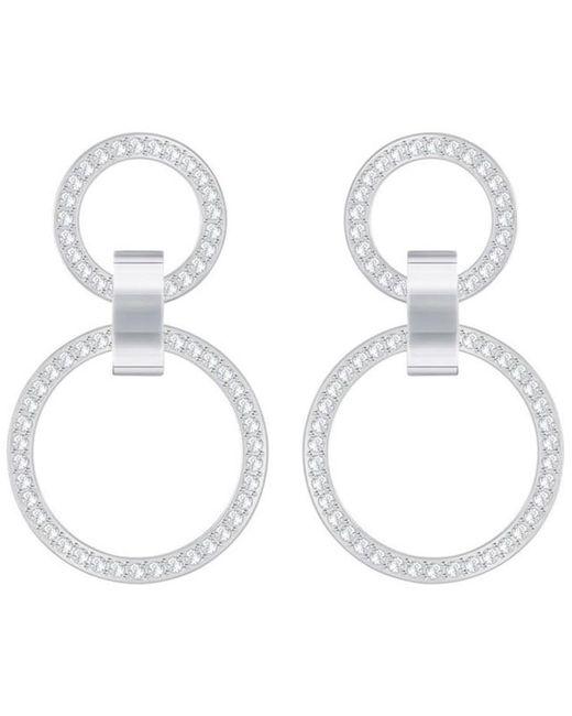 """Swarovski - Metallic Pavé Double-hoop 1-1/2"""" Chandelier Earrings - Lyst"""