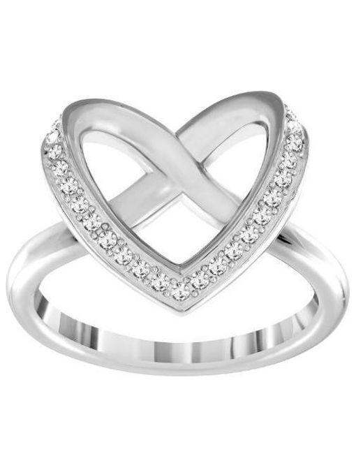 Swarovski | Metallic Cupidon Rhodium-tone Crystal Ring | Lyst