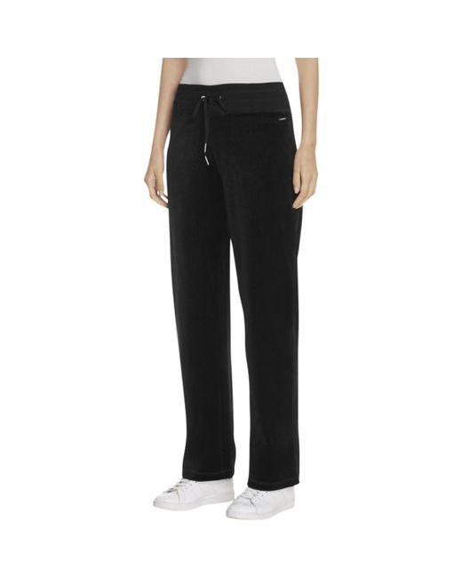 CALVIN KLEIN 205W39NYC - Black Wide Leg Drawstring Velour Pants - Lyst