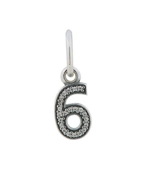 Pandora | Metallic Number 6 Pendant Charm Sterling Silver No. 791344cz | Lyst