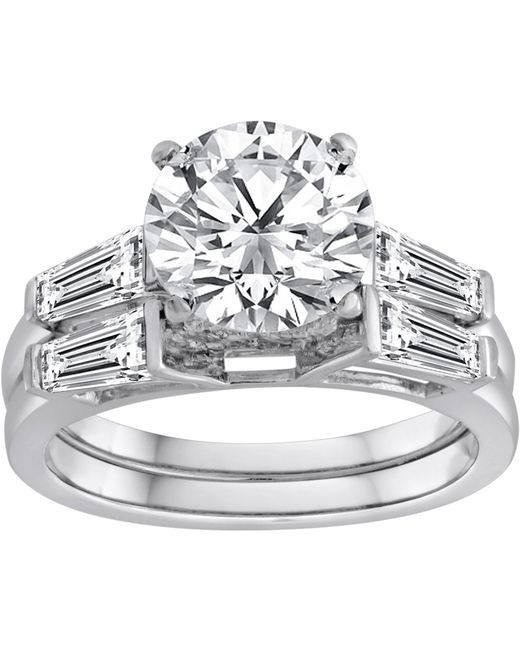 Swarovski - Metallic Pure Perfection Certified Bridal Ring With Brilliant Center Stone Made With Zirconia - Lyst