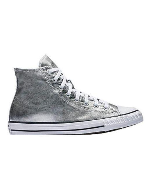 a04c301a0758 Lyst - Converse Unisex Chuck Taylor All Star High Metallic in White