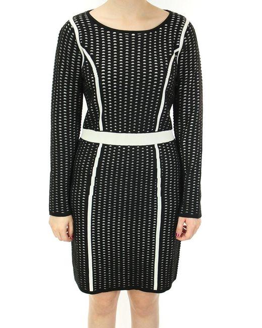 Calvin Klein | Black Textured Long Sleeves Sweater Dress (m | Lyst