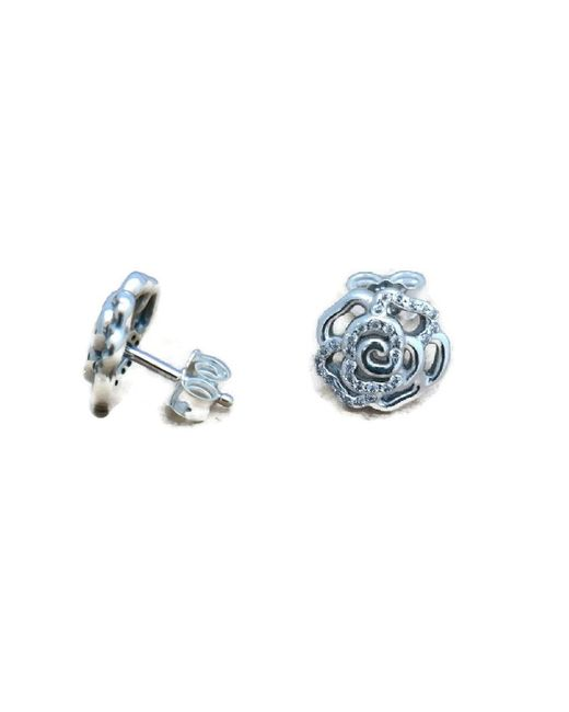 Pandora   Multicolor Earrings Shimmering Rose With Clear Cz 290575cz   Lyst
