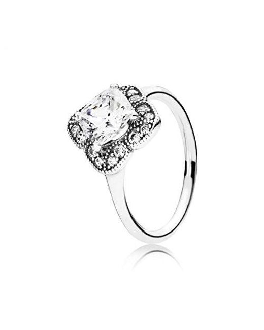 Pandora - Metallic Crystallized Floral Fancy Ring 190966cz - Lyst